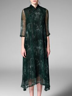 #AdoreWe #StyleWe Maxi Dresses - Designer Pokwai Dark Green Stand Collar  Printed A-