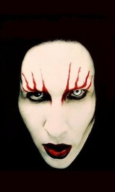 Marilyn Manson Makeup effect / Paired with one gothic white contact lens with black limbal ring => http://www.pinterest.com/pin/350717889705820283/ - and one black Gothic lens => http://www.pinterest.com/pin/350717889705707881/