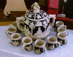 "WICK~WERKE German Stoneware ""Punsch"" (Punch) Bowl~Soup Tureen w/10 Mugs Vintage Punch Bowl Set, Tea Cakes, Carnival Glass, Bowls, Tea Sets, Mugs, Tableware, Stoneware, German"