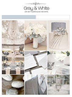 Gray and white wedding inspiration board, color palette, mood board via Weddings Illustrated
