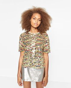 ZARA - TRF - COLOURFUL SEQUINNED T-SHIRT