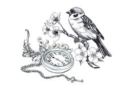 Bird, branch, flowers, pocket watch and key... So disconnected but somehow they all go together. Needs more flow though