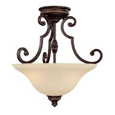 2 Light Semi-Flush Fixture