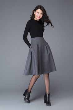 Dark gray skirt/wool skirt/winter midi skirt/gray by YL1dress