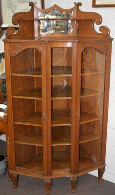 Antique American Oak Corner China Display Cabinet in Antiques, Furniture, Cabinets & Cupboards   eBay