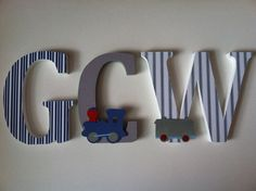 Wooden letters for nursery train themed letters alphabet initials monogram
