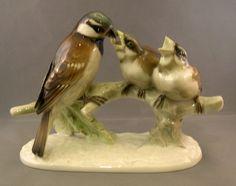 Hutschenreuther Porcelain Figurine Mother Bird Feeding Her Young