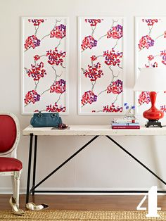 10 creative decorating ideas. This one was my favorite. Frame several panels of fabric or wallpaper you love and hang them as a grouping
