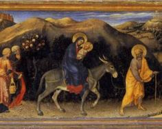 Adoration of the Magi Altarpiece, left hand predella panel depicting Rest during The Flight into Egypt - Gentile da Fabriano