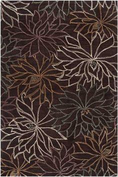 Rectangular Chocolate Brown Ameila Transitional Floral Rug | Free Shipping! | Surya No. AME-2210-2212