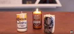 diy beer bottle glass cutting candles at home, home decor Empty Glass Bottles, Bottle Candles, Candle Jars, Mason Jars, Cut Beer Bottles, Liquor Bottles, Glass Candle, Glass Jars, Modern Candle Holders