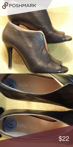 Super Cute Booties Black Leather almost new booties Nine West Shoes Ankle Boots & Booties