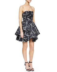 Shaken+Up+Pleated+Satin+Dress,+Geo+Black+by+Cameo+at+Neiman+Marcus.