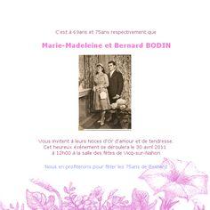 faire part de mariage de marie madeleine bodin et bernard bodin - Texte 50 Ans De Mariage Noces D Or