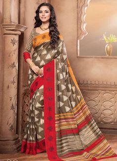 Latest Beautiful Designer Multi Colored Casual Wear Sari 22634 Pure Silk Printed  Daily Wear Saree With Border Work