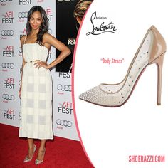 Zoe Saldana in Christian Louboutin Body Strass Embelished Pumps - ShoeRazzi