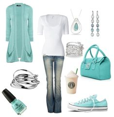Light blue and white outfit and to top it off....starbucks!!!