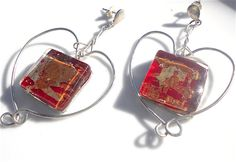 """Heart earrings red earrings sterling silver by LaTerraCantaMONTH JANUARY DISCOUNT CONTINUE!!! """"RENEWAL1""""30%off"""