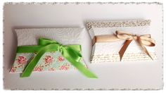 Embellish a simple pillow box with washi tape and a coordinate satin ribbon. A pretty and stylish effect for party favors and small gifts!