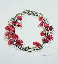 Kostas Spyriounis -wreath of poppies Still Life, Poppies, Floral Wreath, Symbols, Wreaths, Artwork, Rain, Jewelry, Crowns