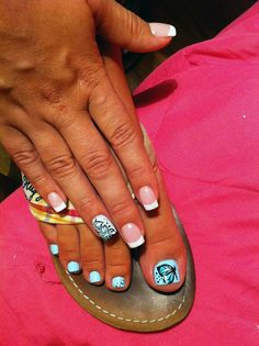 French with butterfly nail art