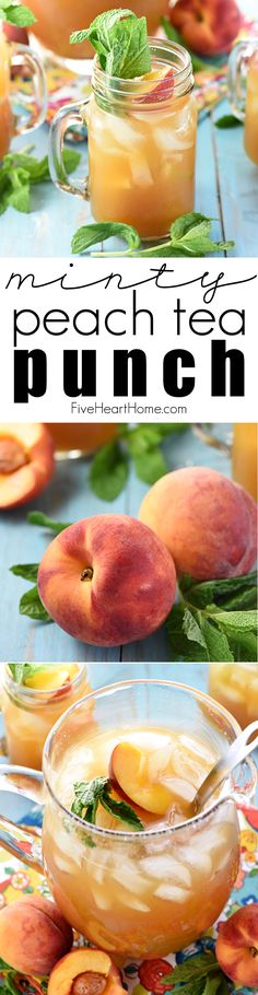 Minty Peach Tea Punch ~ a festive sparkling beverage of mint-infused tea mixed…