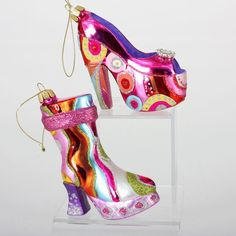 1970 christmas ornaments | ... Retro High Heel Rainbow 1970's-style Mod Glass Christmas Ornaments NEW