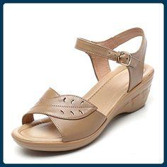 QL@YC Damen Sandalen Sommer Slope Mit Großer Yards Von Nicht Slip Leder Weiche Unterwäsche In Der Damenschuhe , brown , 40 - Sandalen für frauen (*Partner-Link)