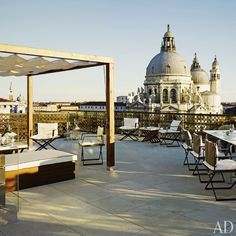 The spacious roof terrace of the Redentore Terrazza Suite at Venice's  Gritti Palace Hotel is a rarity on the Grand Canal.