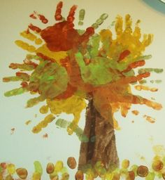 Handprint-apple-tree for Arbor day. Maybe Johnny Appleseed story.