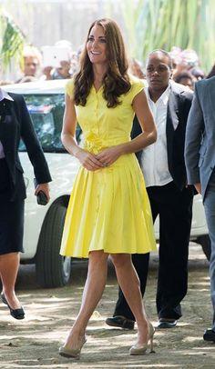 Kate Middleton, yellow dress, designer unknown