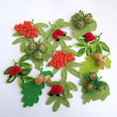 Podzimní plody-brože Uháčkované z bavlny,vzadu je přišit brožový můstek. Jsou mírně naškrobené.Vhodné na šálu,čepici,svetřík, sako nebo třeba kabelku. Crochet Fruit, Crochet Leaves, Crochet Motifs, Crochet Fall, Crochet Squares, Bead Crochet, Irish Crochet, Making Fabric Flowers, Yarn Flowers