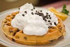 So simple get a Eggo waffle(chocolate chip) whipe cream mini chocloate chips snd Enjoy! Whipped Cream Desserts, Eggo Waffles, Chips, Dishes, Chocolate, Breakfast, Sweet, Recipes, Foods