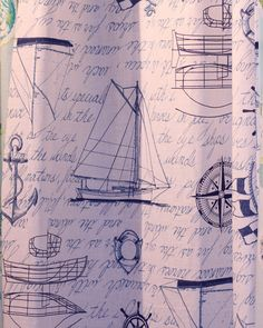 100% Cotton fabric shower curtain in a nautical all over pattern. Love it for any nautical bath, boys bath, beach bath! 12 buttonholes for hooks.