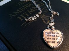 Take My Life Hymnal Heart Necklace by RefashionedGoods on Etsy, $15.00