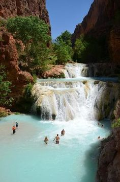 Havasupai Falls: Baevers Falls at the Grand Canyon Oh The Places You'll Go, Places To Travel, Travel Destinations, Places To Visit, Arches Nationalpark, Yellowstone Nationalpark, Dream Vacations, Vacation Spots, National Parks