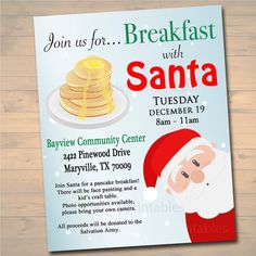 CUSTOM Breakfast with Santa Flyer, Breakfast with Santa Invitation, Kids Christmas Party Invitation, Printable Community Holiday Event Flyer