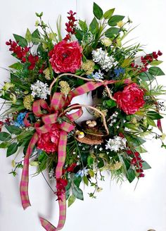 Gorgeous Front Door Peony Wreath for Spring & by ArtificialWreaths
