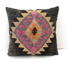 Decorative 18 X 18 Kilim Pillow Black by SultanaDecorPillows