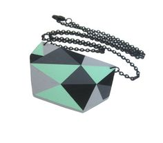 Geometric Triangle Necklace Mint by spoonfulofmint on Etsy, $58.00