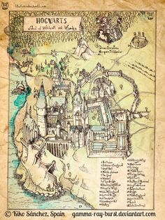 Hogwarts Map Engraving © Kiko Sánchez (Illustrator, Spain) aka Gamma-ray-burst via DeviantArt. http://kikoilustrador.tumblr.com/ Harry Potter. Fan Art ... [Caption required by law; do not remove.] Copyright law requires you to credit the artist. Link directly to the artist's website. HOW TO FIND the ORIGINAL WEB SITE of an image: http://pinterest.com/pin/86975836525507659/ PINTEREST on COPYRIGHT: http://pinterest.com/pin/86975836526856889/