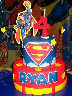 superman cake tiered
