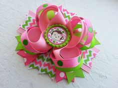 Mod Monkey Inspired Boutique Layered Hair Bow by DLovelyBOWtique, $10.50