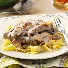 Slow-Cooked Stroganoff Recipe -I've been preparing Stroganoff in the slow cooker for more than 20 years. Once you've done it this way, you'll never cook it on the stovetop again. It's great for family or company. —Karen Herbert, Placerville, California