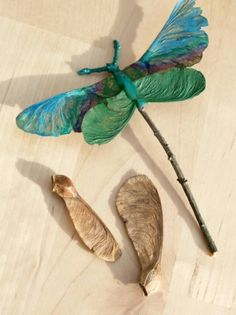 Nature craft dragonflies...now wouldn't this be nie for a garden Tea Party! Golddust