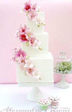 Ombré sugar flower square tier cake