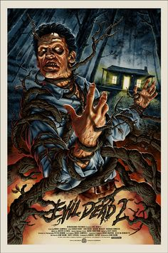 Randy Ortiz Army of Darkness & Jason Edmiston Evil Dead 2 Movie Poster Release from Mondo Horror Movie Posters, Cinema Posters, Movie Poster Art, Fan Poster, Print Poster, Scary Movies, Good Movies, Zombies, Jason Edmiston