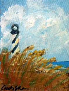 Mini beachscape with lighthouse- An original acrylic painting on canvas by Carolyn Schena x Canvas Paintings, Acrylic Painting Canvas, Lighthouses, Art Pieces, Pottery, Inspire, Studio, Glass, Crafts