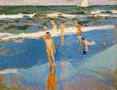 Impressionist art Children at sea. Beach of Valencia Joaquin Sorolla y Bastida paintings home decor Handmade High quality Spanish Painters, Spanish Artists, Valencia Beach, Art Plage, Seascape Art, European Paintings, Beach Scenes, Renoir, Claude Monet