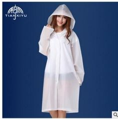 Cheap Sale Women Long Jacket Semi Transparent Waterproof Women Hooded Rain Coat EVA Friendly Women Ponchos Jackets #RaincoatsForWomenHoods